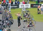 The Human Race triathlon transition swimming to cycling