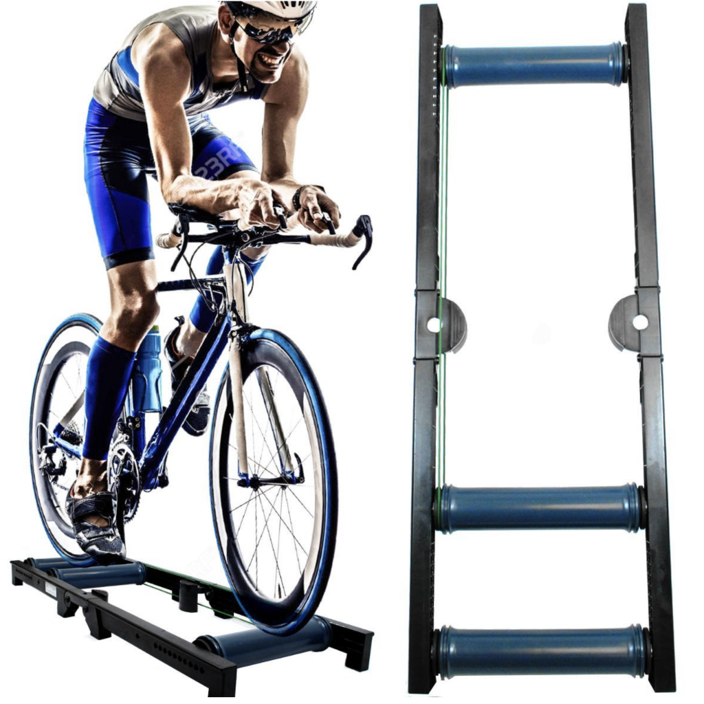 AccelaVelo Roller Pro-X-Trainer Indoor Bike Trainer Bike Resistance Trainer with road race bike