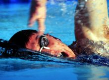 Swimmer with swimming goggles